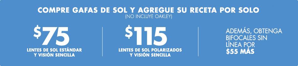Oferta en gafas de sol graduadas: añade tu receta por $75