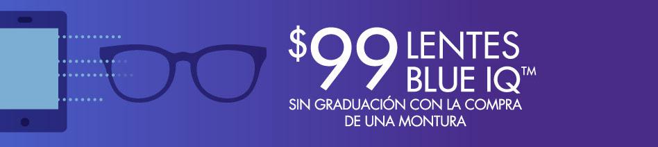 Lentes sin graduación Blue IQ por $99 con la compra de la montura